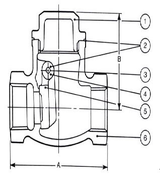 Parts of a check valve